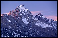 Grand Teton with snow, winter sunset. Grand Teton National Park ( color)