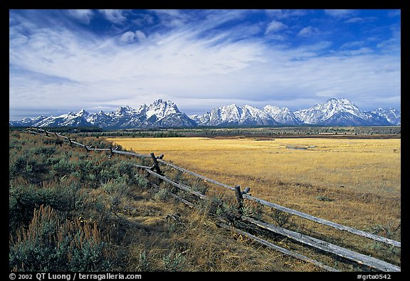 Fence and Teton range in fall. Grand Teton National Park (color)