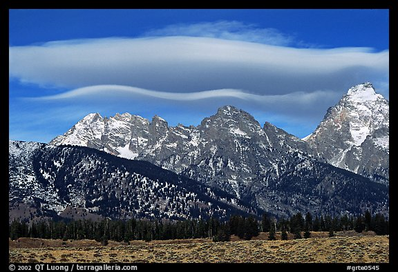 Lenticular cloud above the Grand Teton. Grand Teton National Park, Wyoming, USA.