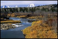 Stream, with Mt Moran emerging from ridige, late fall. Grand Teton National Park ( color)