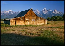 Historic Barn and Teton range, morning. Grand Teton National Park ( color)