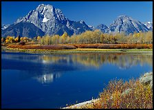 Mt Moran reflected in Oxbow bend in autumn. Grand Teton National Park, Wyoming, USA.
