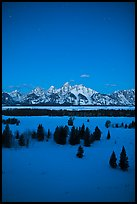Night view of Teton range in winter. Grand Teton National Park ( color)