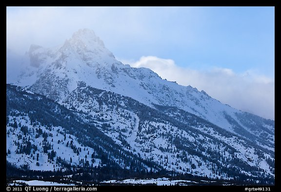 Mount Owen in winter. Grand Teton National Park (color)