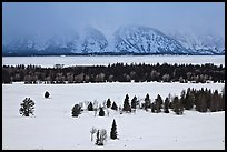 Snake River plain and Teton Range foothills in winter. Grand Teton National Park ( color)
