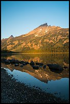 Tetons reflected in Jenny Lake, sunrise. Grand Teton National Park ( color)