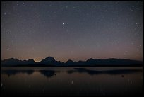 Stars and Mt Moran reflected in Jackson Lake. Grand Teton National Park ( color)