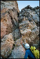 Climbers start Exum Direct route on Grand Teton. Grand Teton National Park ( color)