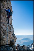 Climber leading Exum Direct route on Grand Teton. Grand Teton National Park ( color)
