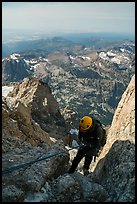 Climber rappels down Sargeant's Chimney on Grand Teton. Grand Teton National Park ( color)