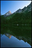 Leigh Lake with Tetons reflected, sunset. Grand Teton National Park ( color)