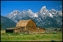 Historic Moulton Barn and Tetons mountain range, morning. Grand Teton National Park ( color)