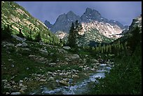 Tetons and Cascade Creek, afternoon storm. Grand Teton National Park, Wyoming, USA. (color)