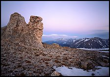 Rock near Toll Memorial at dusk. Rocky Mountain National Park ( color)