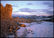 Rock tower and neve at sunset, Toll Memorial. Rocky Mountain National Park ( color)