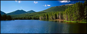 Clear lake with forested shores. Rocky Mountain National Park (Panoramic color)