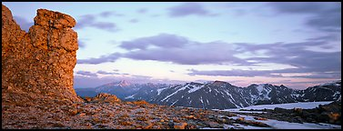 Rock cut at sunset. Rocky Mountain National Park (Panoramic color)