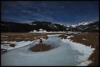 Frozen stream, Moraine Park at night. Rocky Mountain National Park ( color)