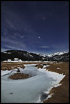 Moraine Park by moonlight. Rocky Mountain National Park ( color)