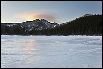 Frozen Bear Lake at sunrise. Rocky Mountain National Park ( color)