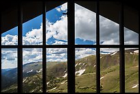 View from inside Alpine Visitor Center. Rocky Mountain National Park, Colorado, USA. (color)