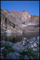 Longs Peak Diamond face and Chasm Lake at dawn. Rocky Mountain National Park ( color)