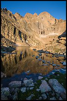 Longs Peak Diamond rises above Longs Peak at sunrise. Rocky Mountain National Park ( color)