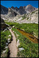 Trail, stream, and Longs Peak. Rocky Mountain National Park ( color)