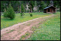 Path and historic cabin at Never Summer Ranch. Rocky Mountain National Park, Colorado, USA.