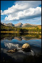 Clouds, boulders, Continental Divide, and Sprague Lake. Rocky Mountain National Park ( color)