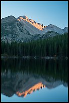 Longs Peak and reflection in Bear Lake at sunset. Rocky Mountain National Park ( color)