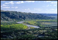 Little Missouri river at Oxbow overlook. Theodore Roosevelt National Park, North Dakota, USA. (color)