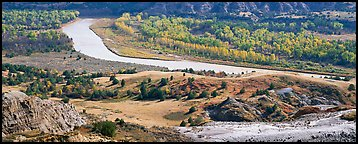 River, badlands, and aspens in the fall. Theodore Roosevelt  National Park (Panoramic color)