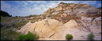 Multi-colored badland scenery. Theodore Roosevelt  National Park (Panoramic color)