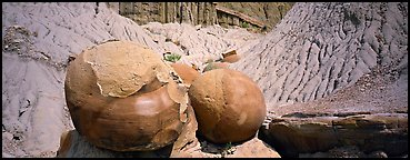 Large spherical concretions in badlands. Theodore Roosevelt  National Park (Panoramic color)