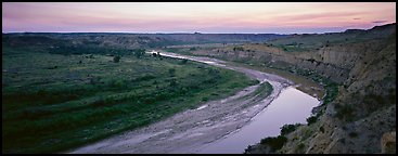 Scenic view of riverbend at sunset. Theodore Roosevelt  National Park (Panoramic color)