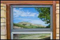 North Unit Visitor Center window reflexion. Theodore Roosevelt National Park ( color)