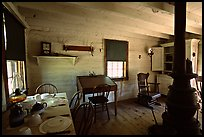 Dining room of Theodore Roosevelt's Maltese Cross Cabin. Theodore Roosevelt National Park, North Dakota, USA. (color)