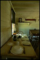 Dining table inside Roosevelt's Maltese Cross Cabin. Theodore Roosevelt National Park ( color)