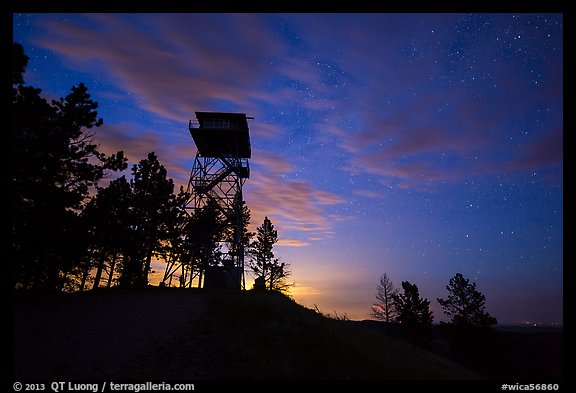 Lookout tower at dusk, Rankin Ridge. Wind Cave National Park, South Dakota, USA.