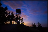 Lookout tower at dusk, Rankin Ridge. Wind Cave National Park, South Dakota, USA. (color)