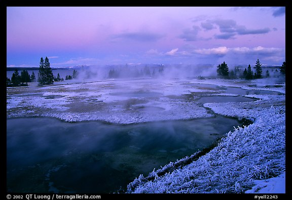 West Thumb Geyser Basin covered by snow at dusk. Yellowstone National Park (color)