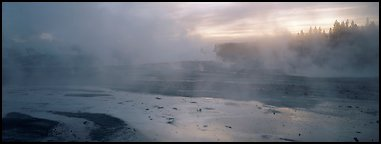 Steam rising in thermal geyser basin a dawn. Yellowstone National Park (Panoramic color)