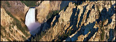Canyon landscape with waterfall. Yellowstone National Park (Panoramic color)