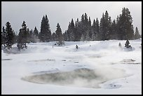 Steam rising from pool in winter, West Thumb. Yellowstone National Park ( color)