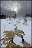 Colorful thermal stream and dark clouds, winter. Yellowstone National Park ( color)