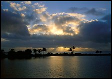Sunrays and clouds at sunrise, Bayfront. Biscayne National Park, Florida, USA. (color)