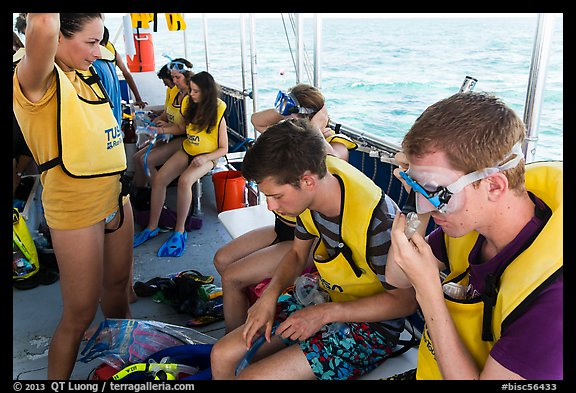 Snorklers getting ready on boat. Biscayne National Park (color)