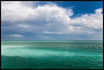 Sand bars, light and clouds, Atlantic Ocean. Biscayne National Park, Florida, USA. (color)