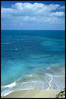Open ocean view with beach, turquoise waters and surf. Dry Tortugas National Park, Florida, USA.